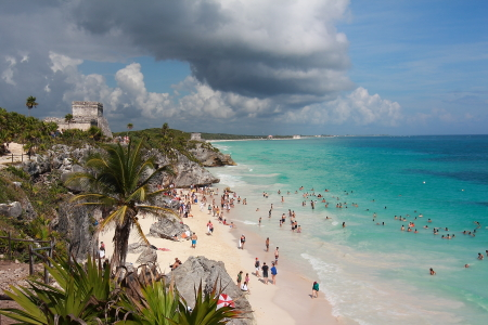 Beach, Caribbean Sea and Castillo