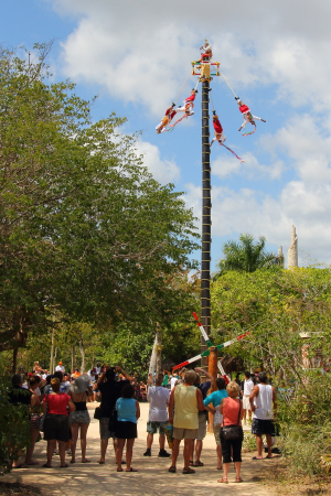 another exhibition of ancient ceremonies which involves bird men that descend from the top of this pole by doing circles in the air to honor the sun god.