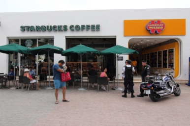 One of several starbuck's in Playa, looks like if you drink to much coffee the police will give you a ticket for being under the influence of caffeine.