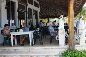 A beachfront restaurant in the center of town