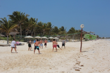 Volleyball game at La Luna beach club