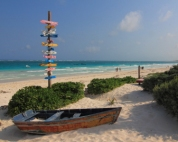 If you don't like tulum the sign says 700 miles to cuba and if you want to just help youself to the dingy