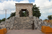 this monument is a tribute to the maya civilization that once occupied this island. It is found on the beach road going north from town.