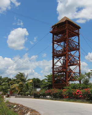 This tower is located at the entrance to Coba's ruins and has a zip over the lagoon