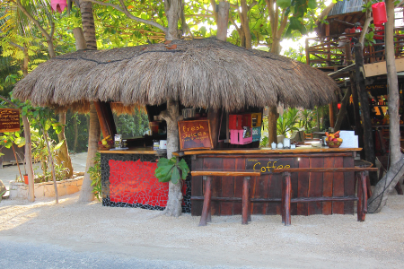 a roadside stand on the jungle side of Tulum beach road