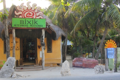 an arts and crafts store on the jungle side of Tulum beach road