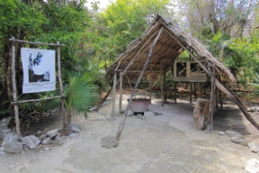 recreation of a chiclero camp production facility where sap from the chicle tree was boiled down and cast into blocks that formed a base for chewing gum later called chiclets