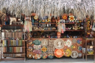 ceramic arts and other mayan craft work on sale just behind akumal beach