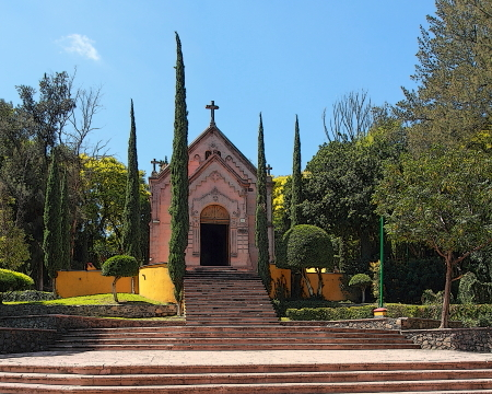 A chapel monument located on the hill in Queretaro where the Mexican army defeated Maximillian to win freedom from Austria.