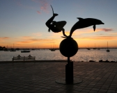 mermaid and dolphin monument in La Paz