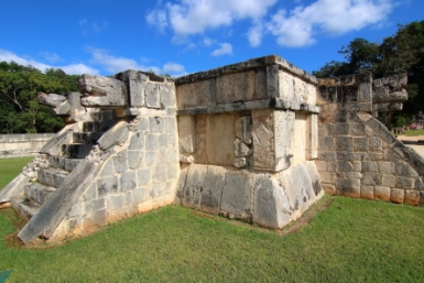 Platform of the Eagles and Jaguars. The balustrades of these steps represents ascending plumed serpents