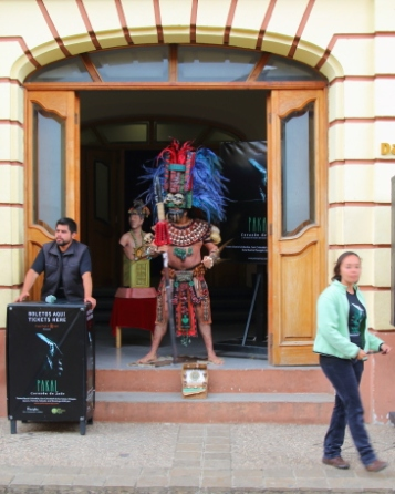 A theater in the centro area with maya warrior guarding the entrance