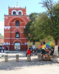 surrounded by the del Carmen Church and cultural center, the arch was built in 1677