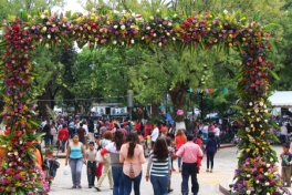 a flower decorated frame was set up at all four corners around the main plaza