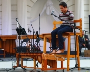 Here is a handicapped musician who learned to master the marimba with his feet, performing on the main stage in centro