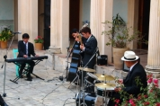 "Here's a 4 piece jazz band performing at the Casa de la Cuidad with a cover of Dave Brubecks ""Take Five"""