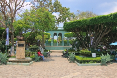 The plaza's gazebo