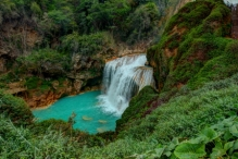 One of the waterfalls at El Chiflon ecotourist center 45 kilometers from Comitan