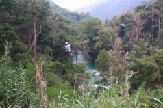 There are zip lines on both sides of the trails at the base of Velo de Novia falls enabling a round trip view of the surroundings