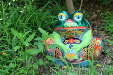 a ceramic frog placed along the LCS garden pathway