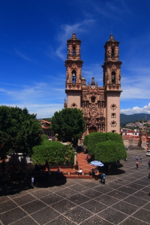 The Santa Prisca Cathedral was built in the 18th century with funds provided by the by the silver tycoon Jose de la Borda