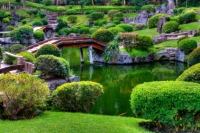 lush green landscaping is used to create an idealized miniature landscape