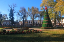 the main plaza of Patzcuaro with christmas decorations