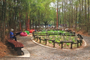 Barefoot park behind the Plaza Mayor Convention Center is a green space for rest and relaxtion