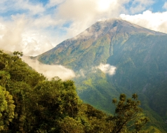 The Tungurahua Volcano stands at 16000 feet and overlooks the village of Banos