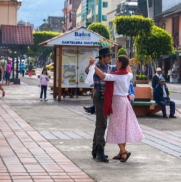 street performers from argentina demonstrating folk dances of their homeland.