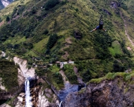 Zip line over the manto de la novia waterfalls. Its your choice of head first or feet first.