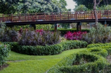 One of the foot bridges in the gardens