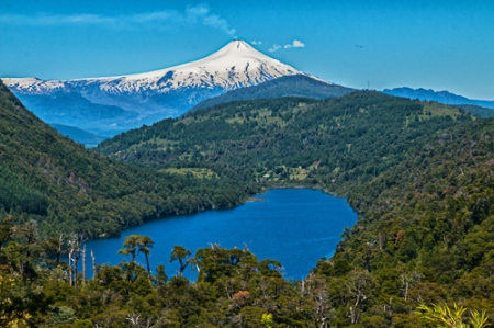 Lake Tingquilco and Villarica Volcano