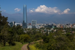 panoramic view of Santiago from on of the metropolitan park trails, the building in the background is tallest in South America and is the Costenero Center