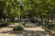 the entrance to Bustamonte Park which leads to a cafe and library. The park also has outdoor exercise equipment.