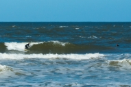 surfing off Playa Brava