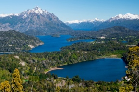 A view of the lakes around Bariloche from the top of Mt. Campanerio